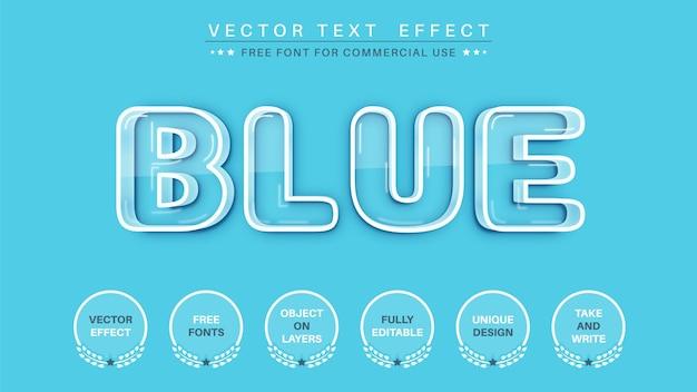 Estilo de fonte de efeito de texto editável de tachado azul