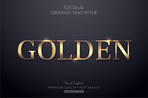 Estilo de fonte de efeito de texto editável elegante dourado