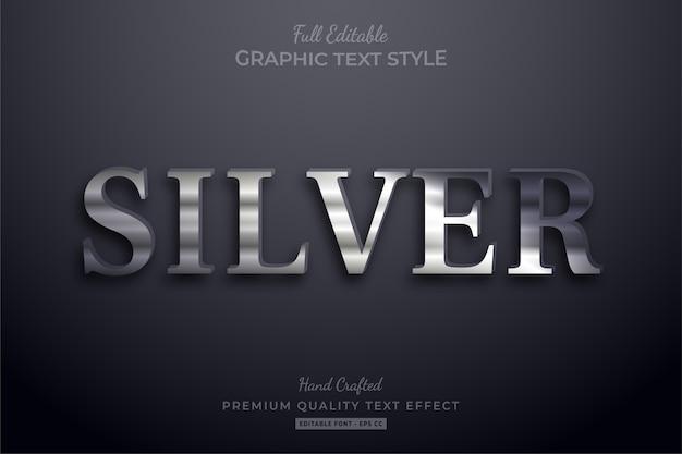 Estilo de fonte de efeito de texto editável elegante prata