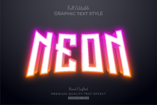 Estilo de fonte de efeito de texto editável em gradiente neon