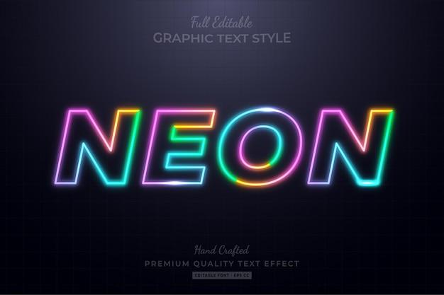 Estilo de fonte de efeito de texto editável em néon colorido