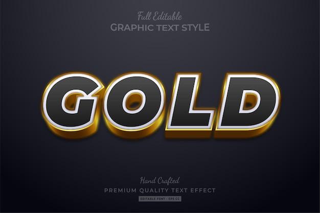 Estilo de fonte de efeito de texto editável em preto dourado