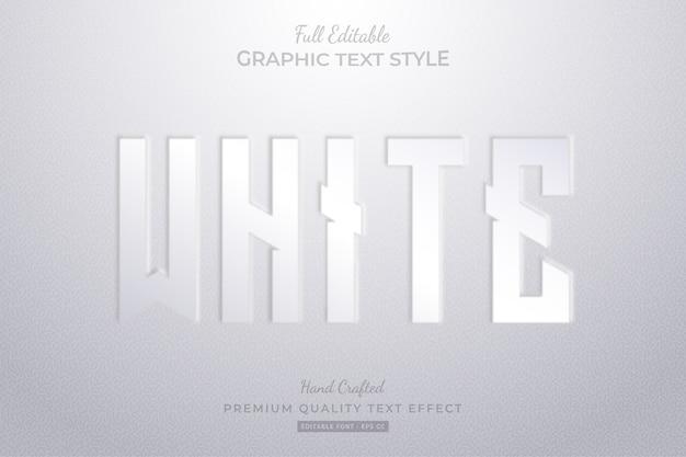 Estilo de fonte de efeito de texto editável em relevo branco