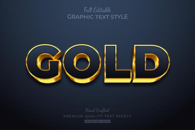 Estilo de fonte de efeito de texto editável gold glow