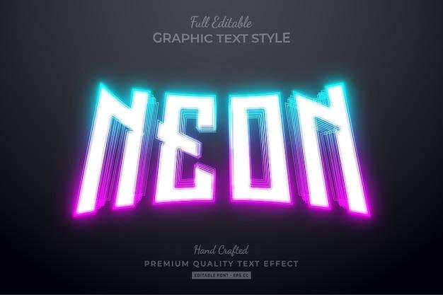 Estilo de fonte de efeito de texto editável gradiente neon blue pink