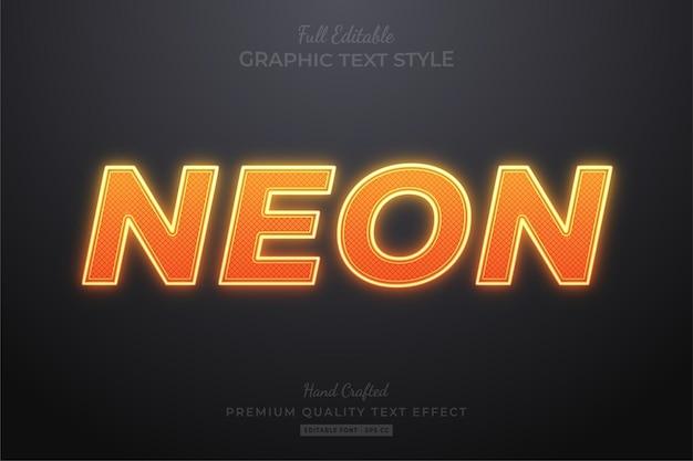 Estilo de fonte de efeito de texto editável laranja neon