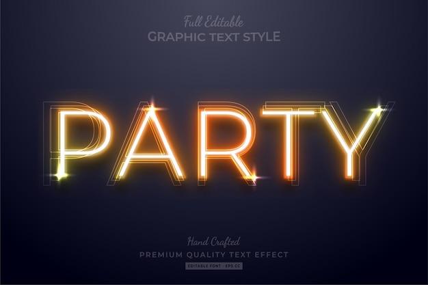 Estilo de fonte de efeito de texto editável neon orange party