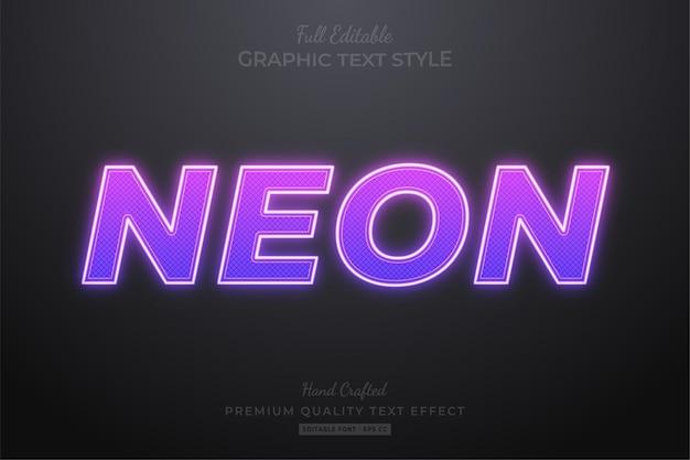 Estilo de fonte de efeito de texto editável roxo neon