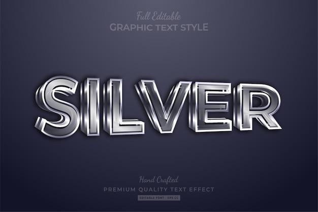 Estilo de fonte de efeito de texto editável silver 3d