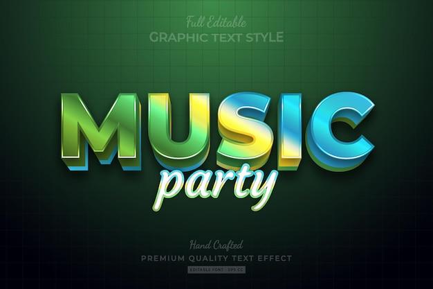 Estilo de fonte de efeito de texto premium editável de gradiente de festa musical