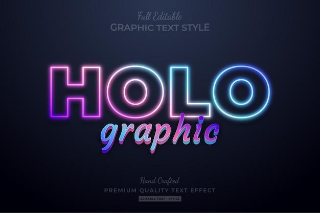Estilo de fonte de efeito de texto premium editável em gradiente holográfico