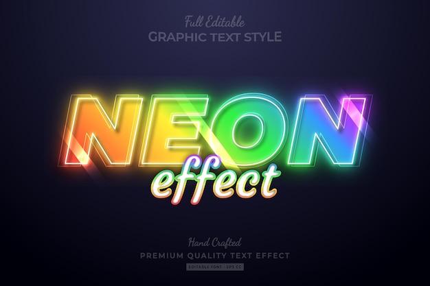 Estilo de fonte de efeito de texto premium editável neon rainbow