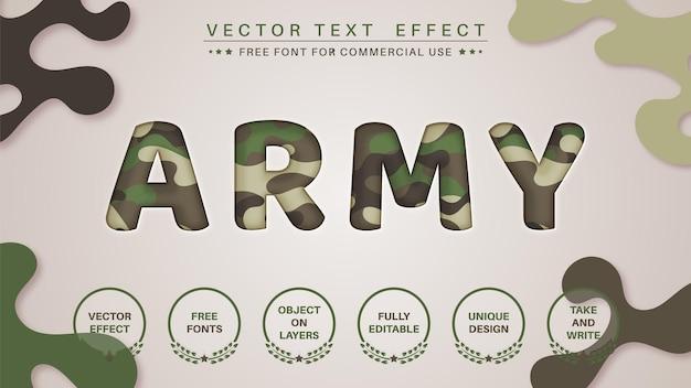 Estilo de fonte do efeito de edição de texto de corte militar