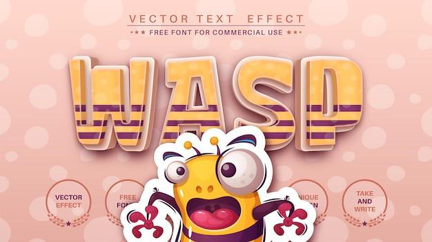 Estilo de fonte do efeito de texto de edição do wasp