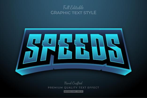 Estilo de fonte do efeito de texto editável blue speeds racing