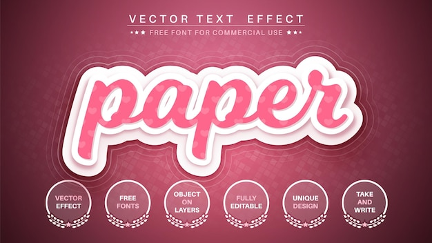 Estilo de fonte do efeito de texto editável da camada de papel