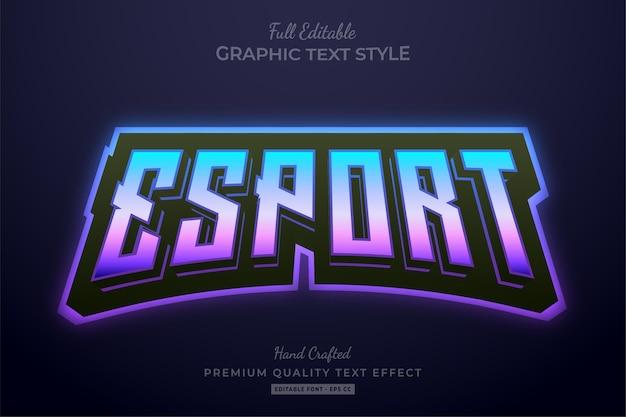 Estilo de fonte do efeito de texto editável da equipe esport gradiente roxo azul