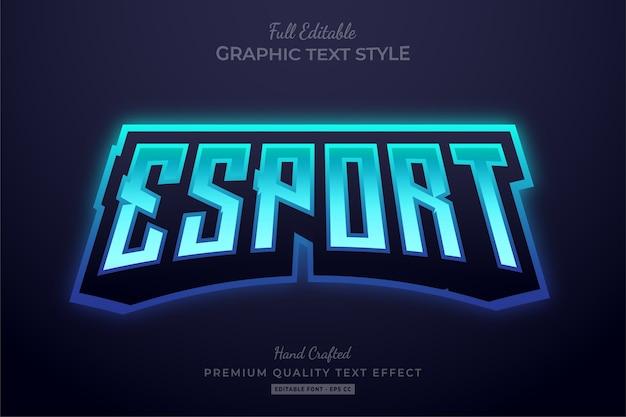 Estilo de fonte do efeito de texto editável do esport gradient blue