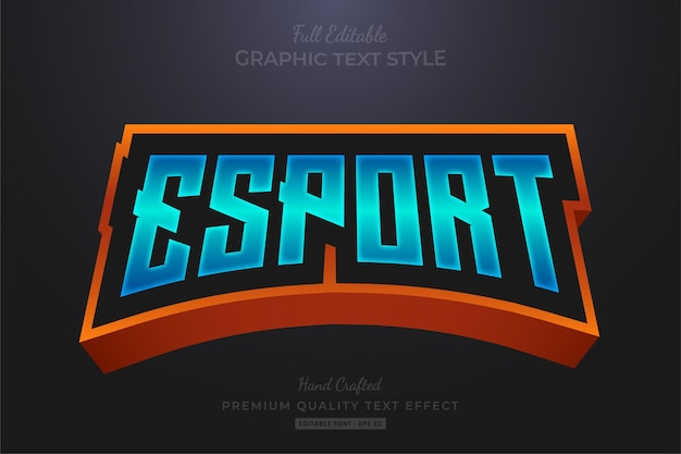 Estilo de fonte do efeito de texto editável do esport team gradient blue orange