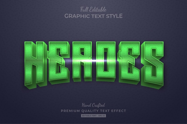 Estilo de fonte do efeito de texto editável do filme green heroes