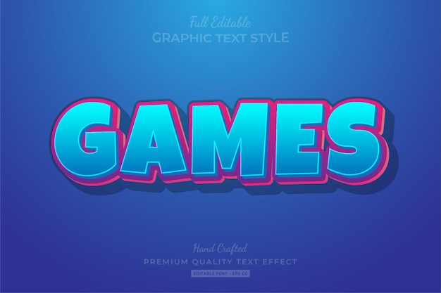 Estilo de fonte do efeito de texto editável do games cartoon