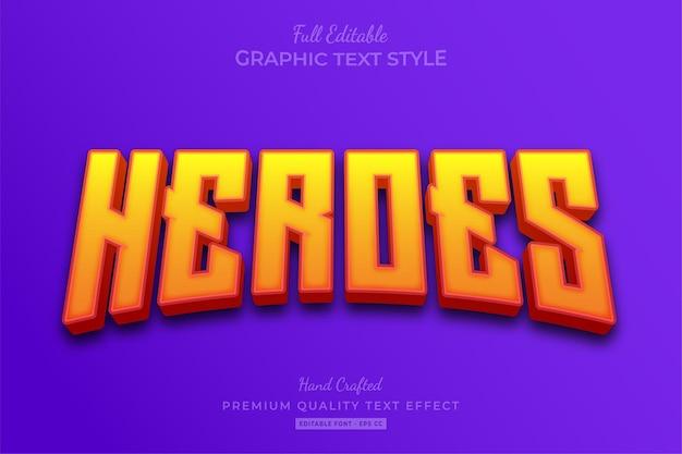 Estilo de fonte do efeito de texto editável do heroes movie yellow