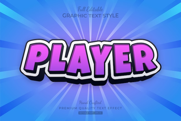 Estilo de fonte do efeito de texto editável do jogador cartoon roxo