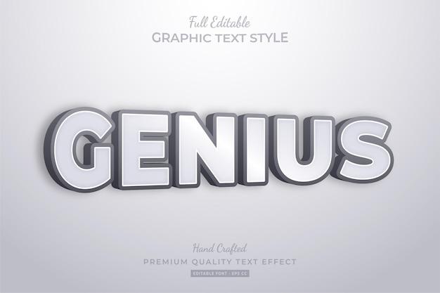 Estilo de fonte do efeito de texto editável genius clean 3d