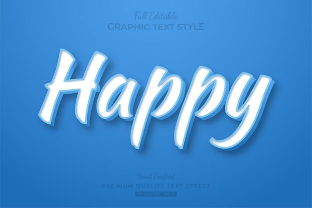 Estilo de fonte do efeito de texto editável happy blue clean
