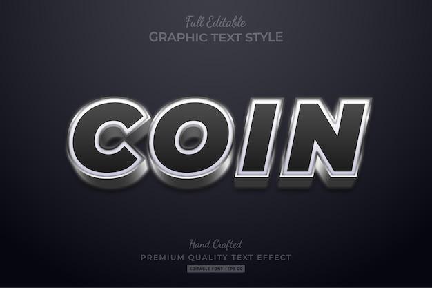 Estilo de fonte do efeito de texto editável moeda prata preta