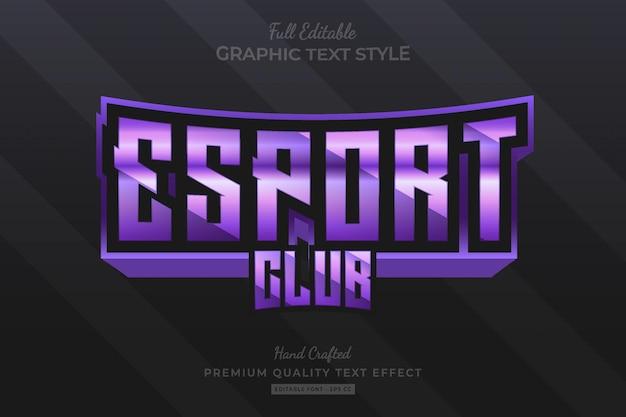 Estilo de fonte do efeito de texto premium editável roxo esport club