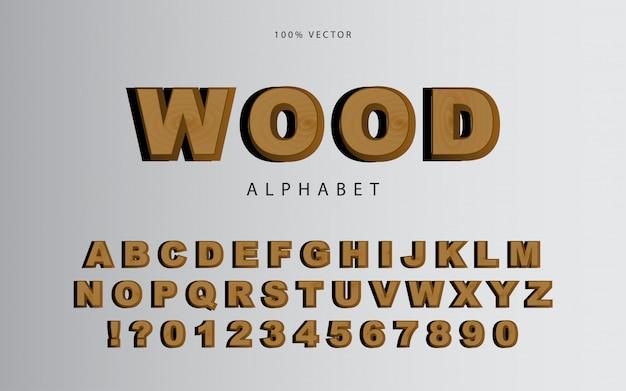 Estilo de fonte e alfabeto de textura de madeira