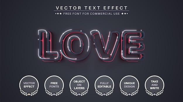 Estilo de fonte editável com efeito de texto glow lov