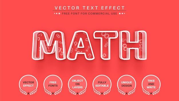 Estilo de fonte editável de edição matemática de efeito de texto