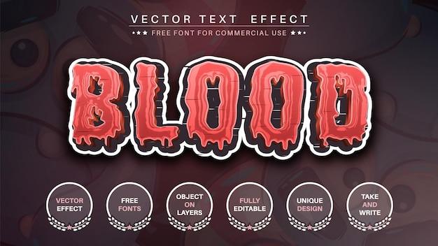 Estilo de fonte editável de efeito de texto de edição de adesivo de sangue