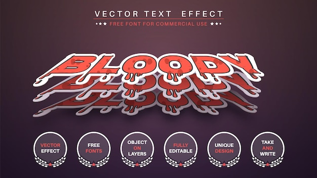 Estilo de fonte editável de efeito de texto de edição de adesivo sangrento