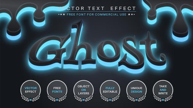 Estilo de fonte editável de efeito de texto de edição de fantasma de brilho