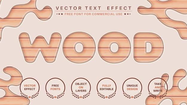 Estilo de fonte editável de efeito de texto de edição de madeira