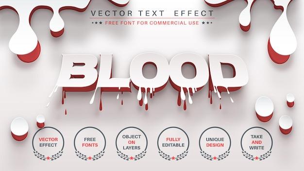 Estilo de fonte editável de efeito de texto de edição de sangue em papel