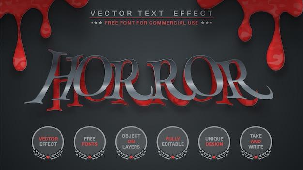 Estilo de fonte editável de efeito de texto de edição de terror escuro