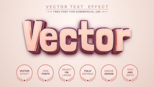 Estilo de fonte editável de efeito de texto de edição teilor stitch