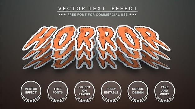 Estilo de fonte editável de três adesivos de terror para editar efeitos de texto