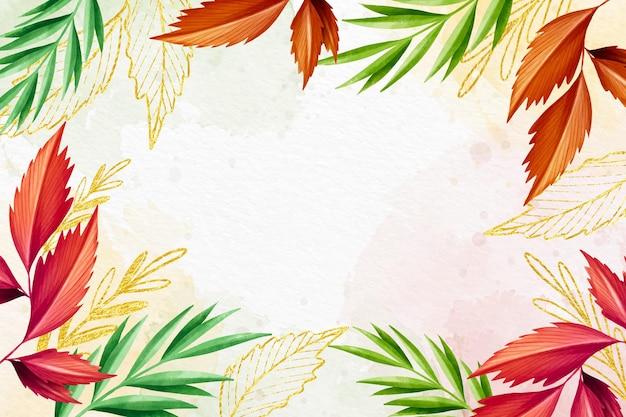 Estilo de fundo colorido com folha dourada