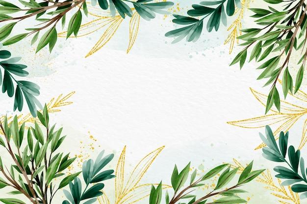 Estilo de fundo da natureza com folha dourada