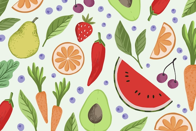 Estilo de fundo de frutas e legumes