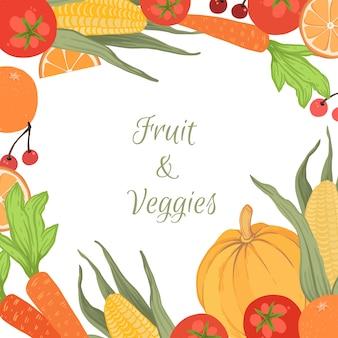 Estilo de fundo de legumes e frutas
