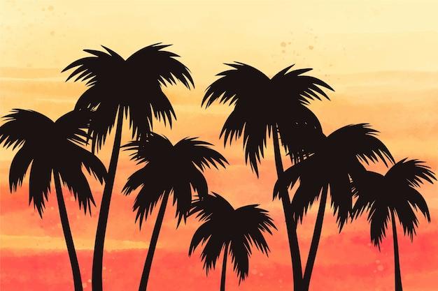 Estilo de fundo de silhuetas de palma