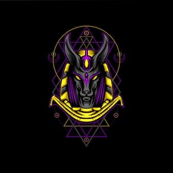 Estilo de geometria de ouro anubis violeta