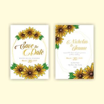 Estilo de girassol de convite de casamento