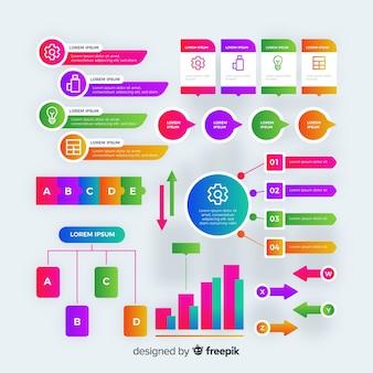 Estilo de gradiente de coleção de elementos infográfico